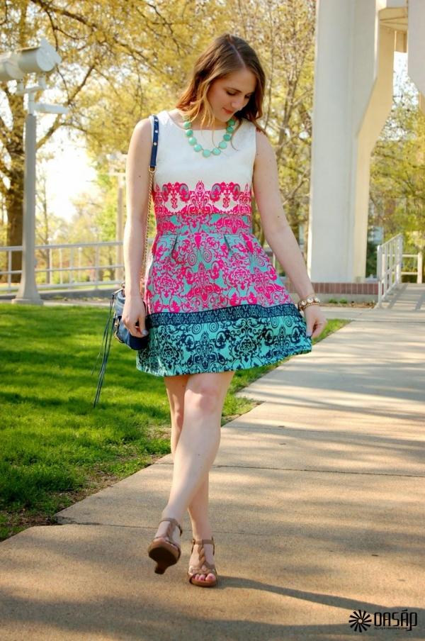 Vintage Jacquard Sleeveless Dress - OASAP.com