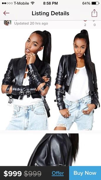 jacket black nastygal biker jacket edgy leather jacket coat sweater