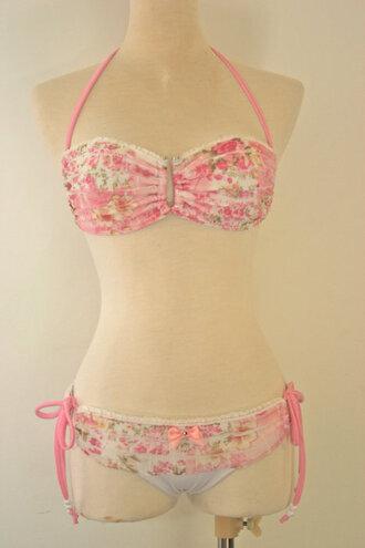 cute underwear swimwear bikini pink floral cute bikini