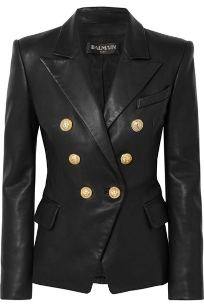 Balmain blazer leather black jacket