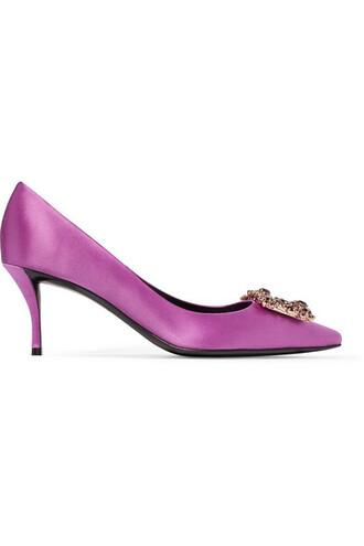 embellished pumps satin magenta shoes