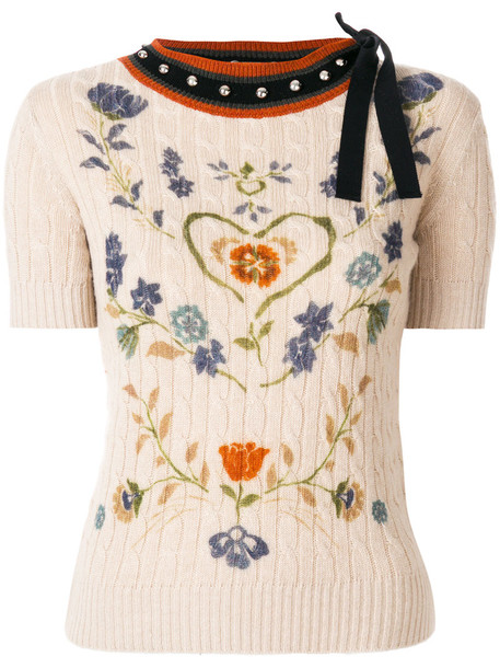RED VALENTINO sweater women floral nude wool knit