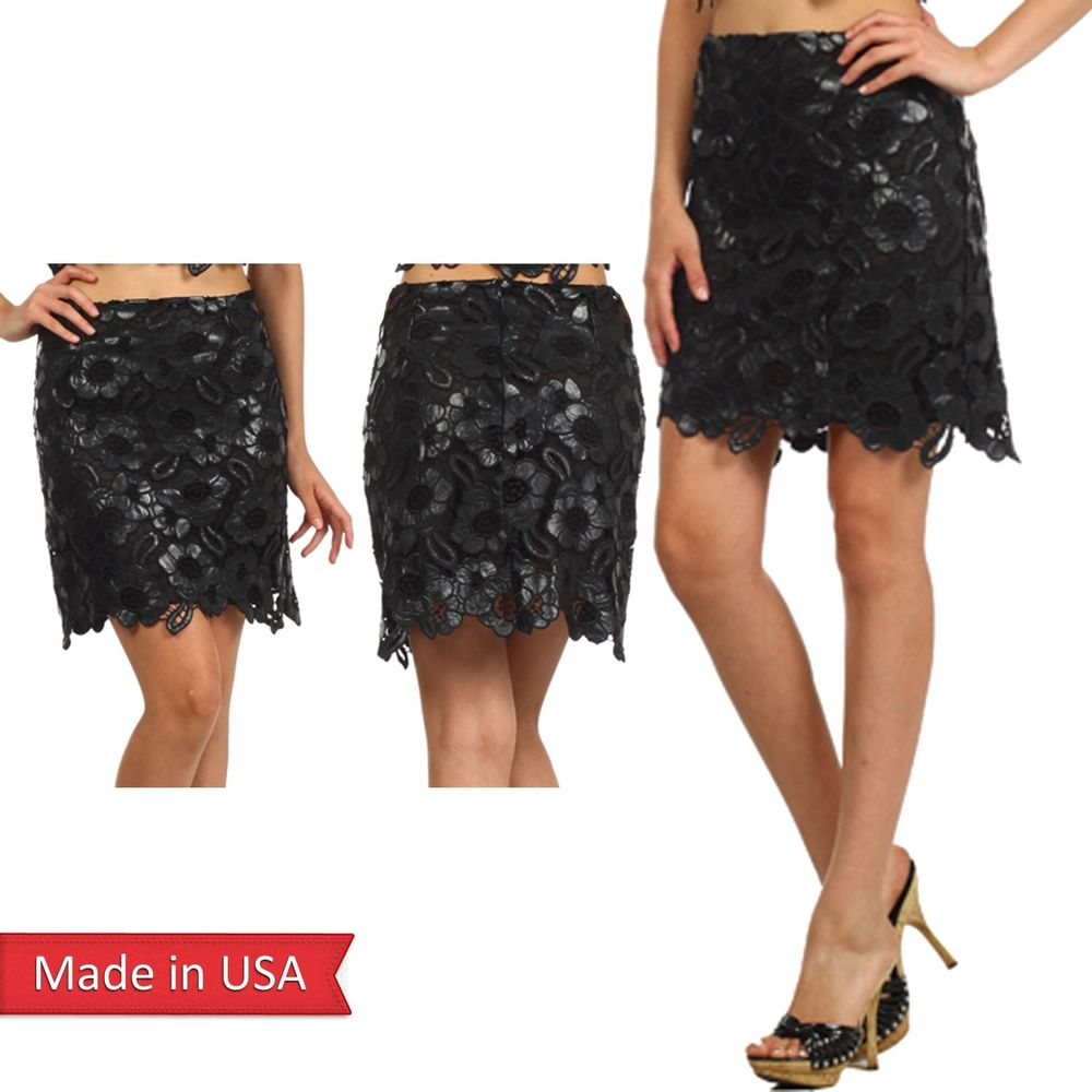 Women Black Faux Leather Crochet Mini Short Length Floral Scallop Pencil Skirt