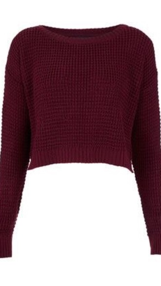 sweater burgundy cropped sweater