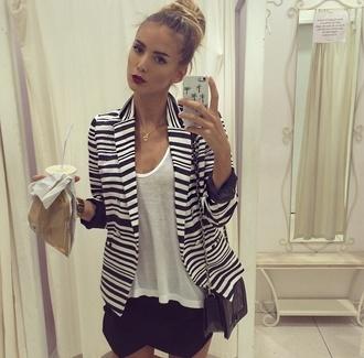 jacket black and white stripes skirt top designer striped jacket