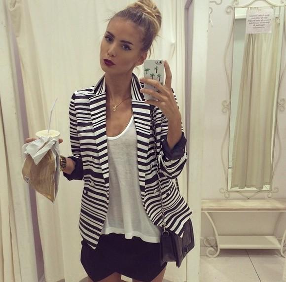stripes top jacket black and white skirt designer