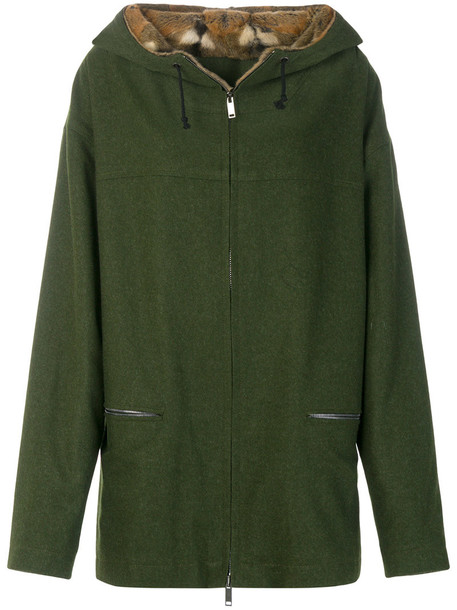 coat parka fur women wool green