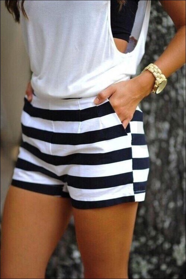 Black And White Horizontal Striped Shorts For Women