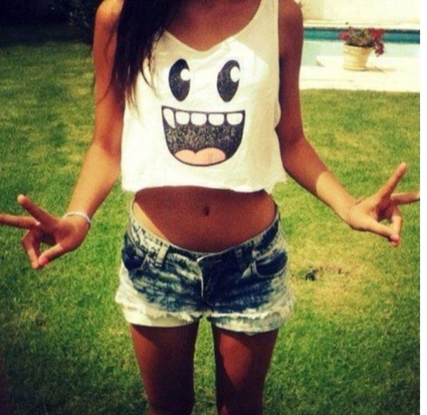 shirt jeans tank top t-shirt white face top