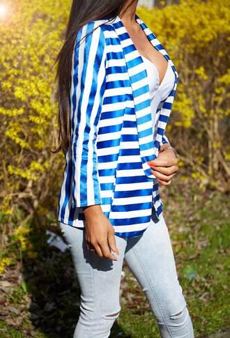 jacket pink boutique white stripes blazer pockets blue and white stripes