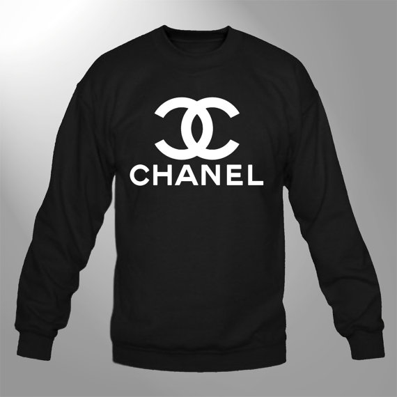 Chanel  sweatshirt crewneck sweater black chanel1 by customornah