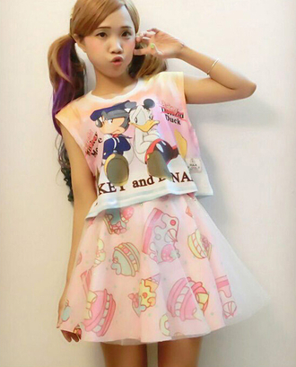 blouse disney punk disney shirt mickey mouse shirt donald duck gangsters kawaii harajuku crop tops