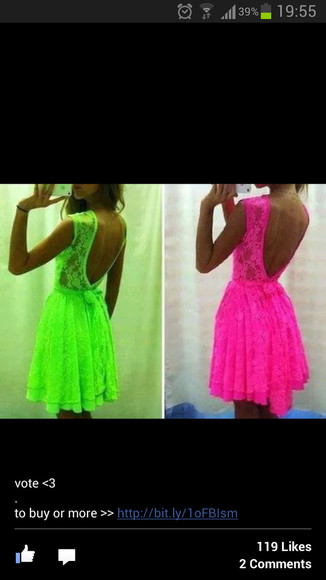 pink dress neon cute dress girly