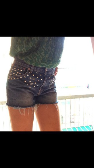 denim jeans shorts denim shorts vintage High waisted shorts studs