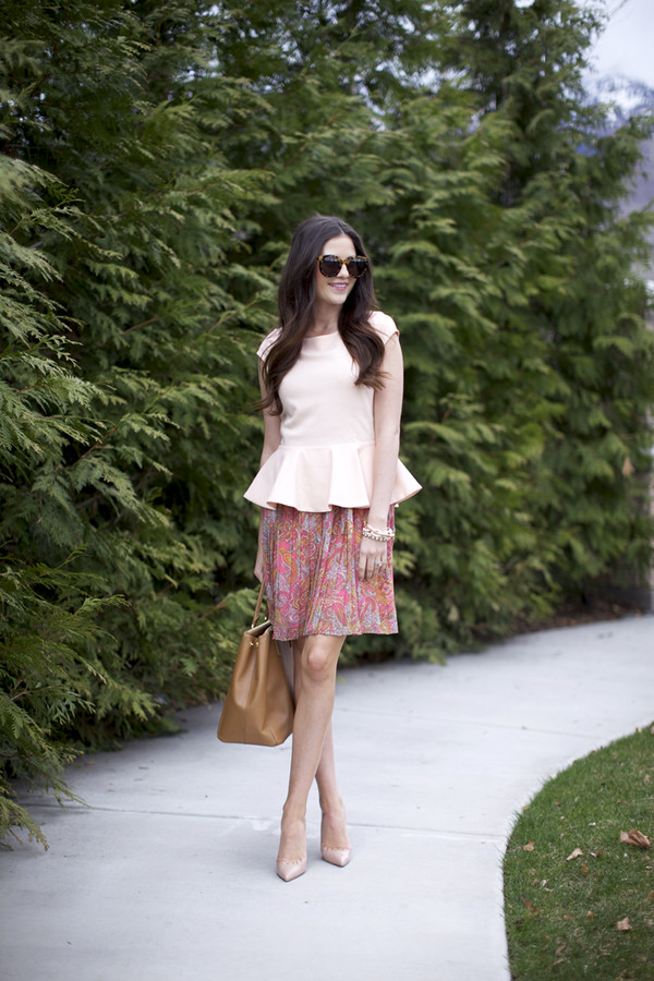 The pink peonies t shirt dress skirt shoes bag jewels