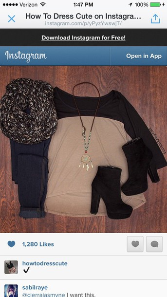 top scarf jeans black and tan black and tan top cute quarter sleeves