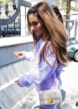sweater ariana grande purple cozy spring cute grunge soft grunge pastel purple oversized sweater pastel lilac fashion purple sweater blue knitted sweater bag cardigan purse casmier dtyle style cashmere jumper cashmere sweater purple dress