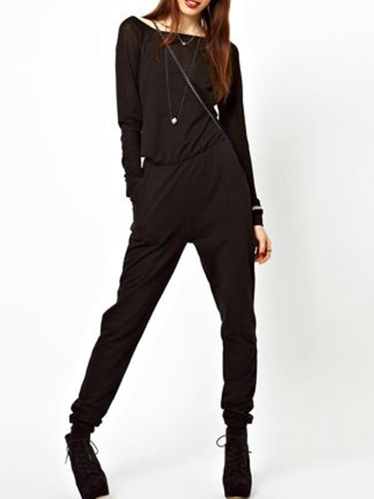 Black Long Sleeves Jumpsuit | Choies