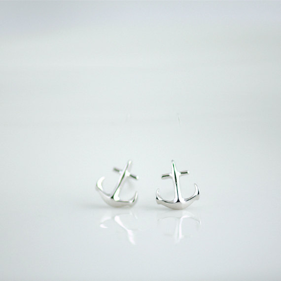 Tiny Anchor Earrings in Silver. Silver Anchor Post Earrings. Anchor My Love. Bridesmaids Gifts.