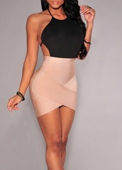 dress,black dress,nude,black,asymmetrical,nude dress,sexy dress,mini dress,sexy,clubwear,rose wholesale,bodycon dress,trendy,Sexy Jewel Neck Sleeveless Hollow Out Bodycon Bandage Dress For Women,hot,fashion,rosegal-dec
