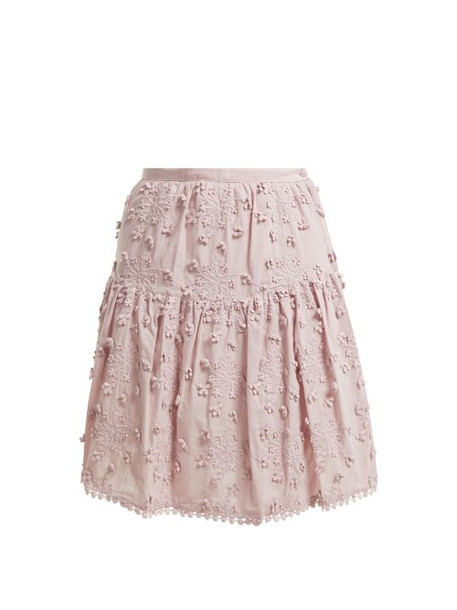 See By Chloé See By Chloé - Embroidered Mini Skirt - Womens - Light Pink