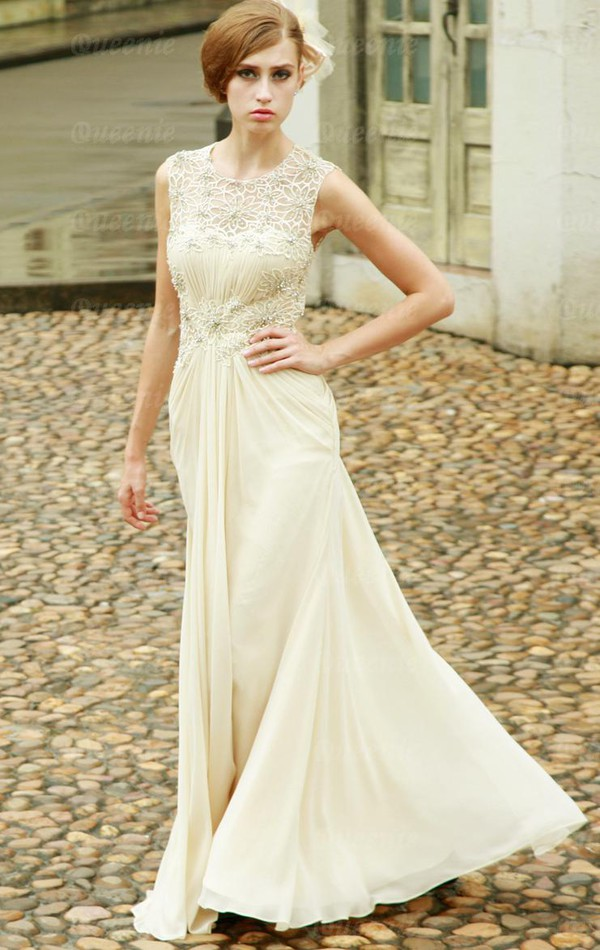 gown formal dress beige dress chiffon lace dress