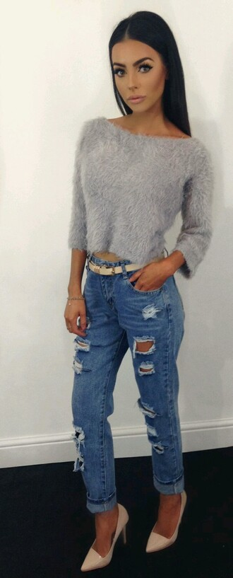 sweater fuzzy sweater cropped sweater fuzzy crop top high waisted jeans