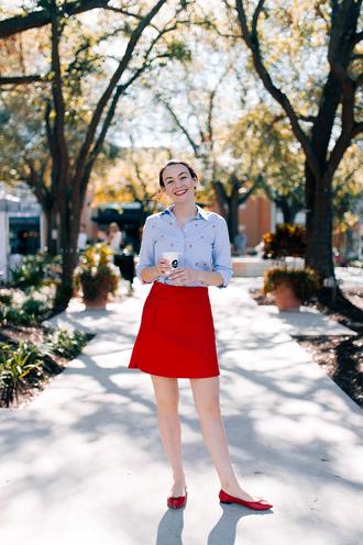 thecollegeprepster blogger shirt skirt jewels red skirt blue shirt ballet flats