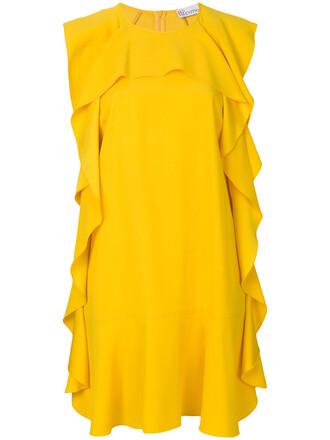 dress shift dress women yellow orange