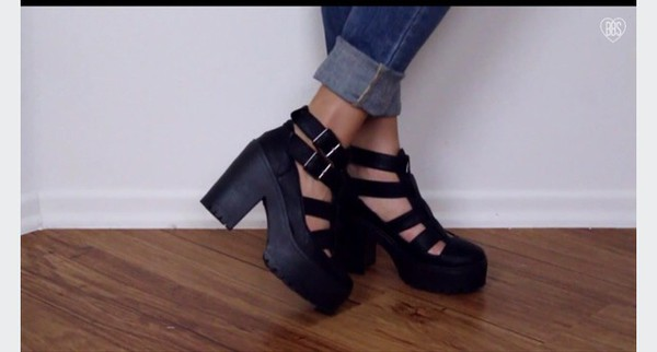 Shoes Sandals Black Heels Closed Toe Chunky Shoes