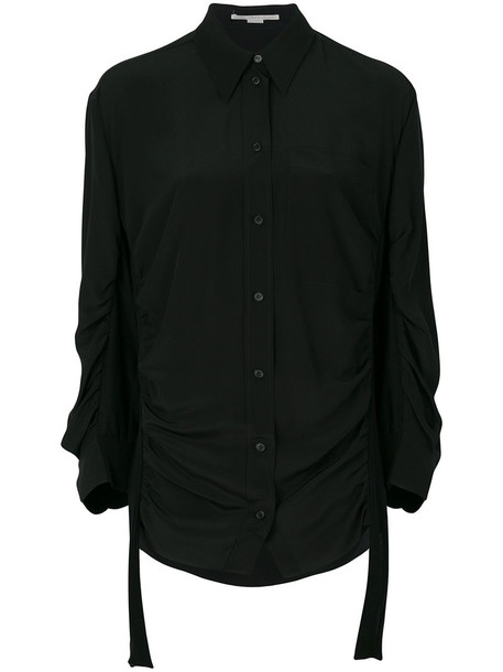 shirt women cotton black silk top