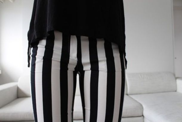 Pants: black and white, jeans, stripes, high waisted, high waisted ...