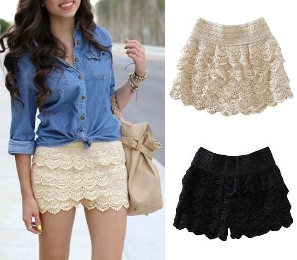 Womens Fashion Korean Sweet Cute Crochet Tiered Lace Shorts Short Skorts Pants J | eBay