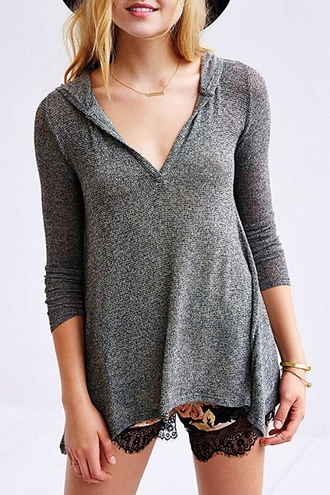 sweater grey grey sweater hoodie zaful knitwear grey knitwear sweatshirt casual fall outfits fall sweater swag plunge v neck jewels necklace gold necklace bar necklace