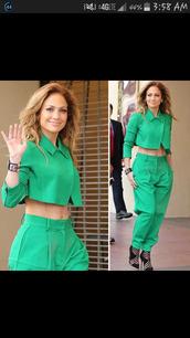 jumpsuit,suit,green,jennifer lopez