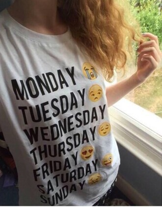 t-shirt shirt fashion style emoji print week top white emotions weekend quote on it girl graphic tee white t-shirt instagram girly summer tumblr weheartit pinterest cool trendy