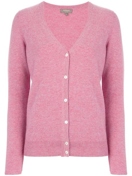 N.Peal - V-neck cardigan - women - Cashmere - L, Pink/Purple, Cashmere