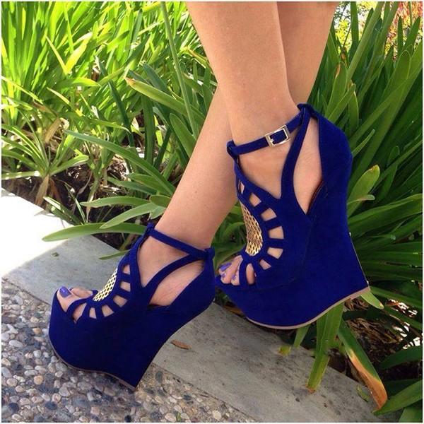 shoes blue wedges