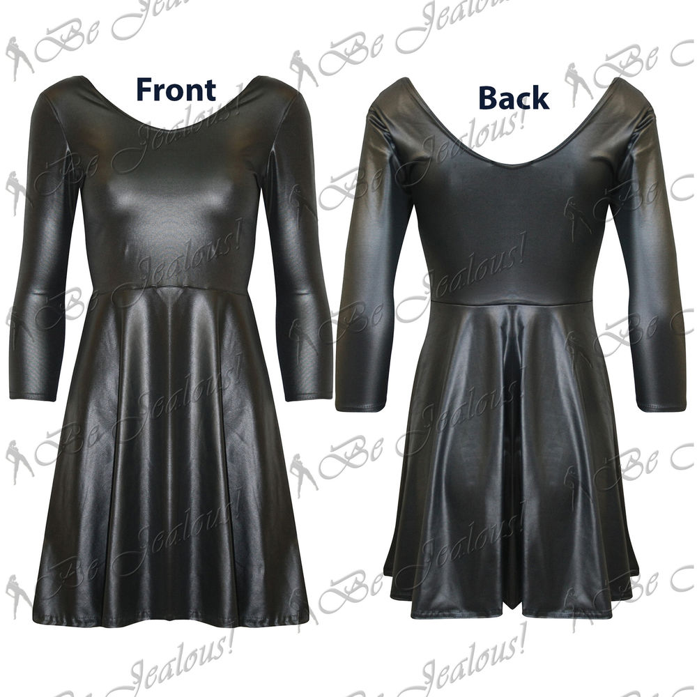Ladies Womens Faux Leather Long Sleeves New PVC Wetlook Franki Skater Dress Top | eBay