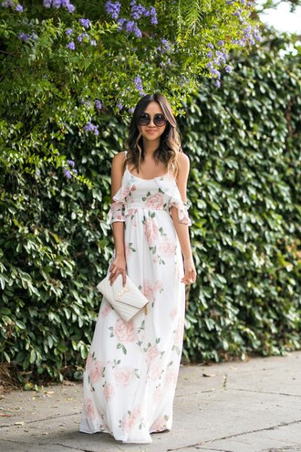 lace and locks blogger dress shoes floral dress maxi dress white dress ysl bag