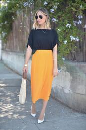 cupcakes and cashmere,blogger,dress,blouse,sweater,jumpsuit,skirt,shoes,bag,shorts,pumps,yellow skirt,midi skirt