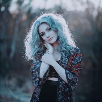 cardigan aesthetic tumblr outfit tumblr top tumblr sweater alternative turquoise orange blouse pastel hair kimono