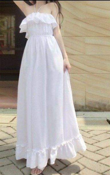 dress white white dress long dress