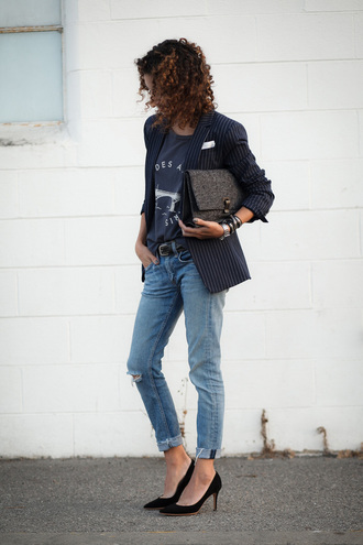 alterations needed blogger jacket t-shirt jeans shoes bag jewels belt blazer blue top clutch ripped jeans black heels