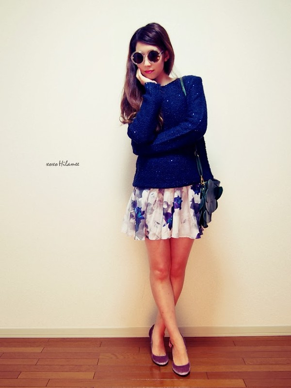 xoxo hilamee sweater skirt bag shoes sunglasses