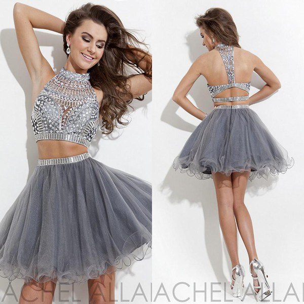 crystal dresses 2015 graduation dresses homecoming dress two-piece 2015 prom dress short party dresses
