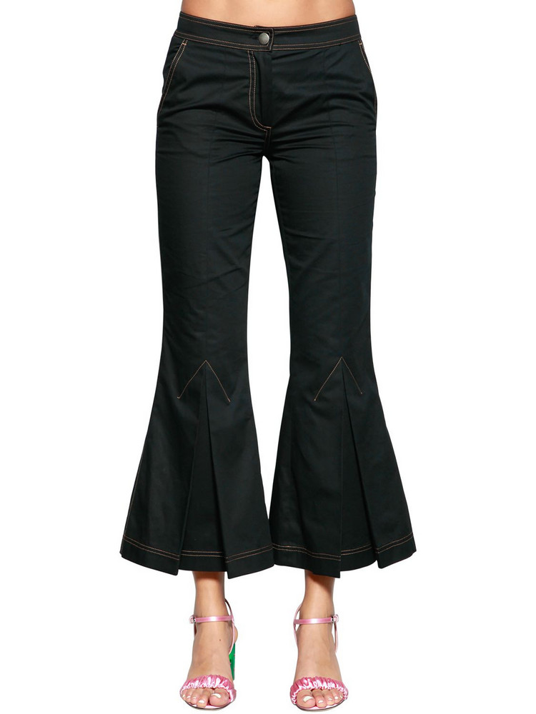 MARCO DE VINCENZO Flared Cotton Drill Pants in black
