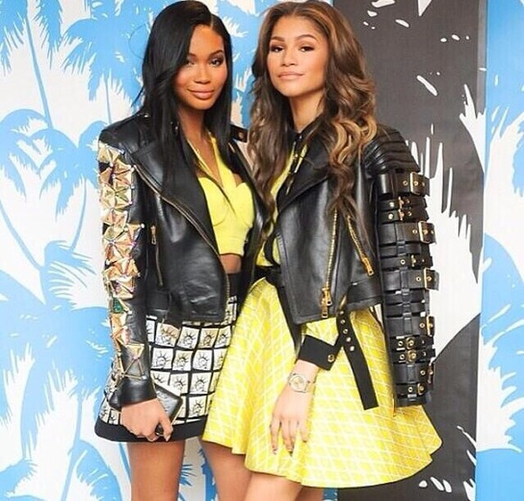 buckles jacket leather jacket black zendaya yellow