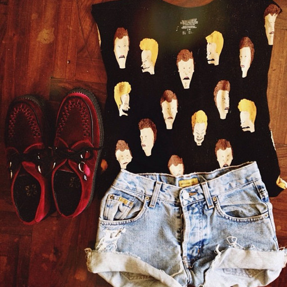 t-shirt Beavis and Butt-Head tank top black beavis and butthead tee black tee black t-shirt beavis and butthead shorts