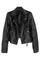 Romwe lapels zippered long sleeves black vinyl jacket, the latest street fashion